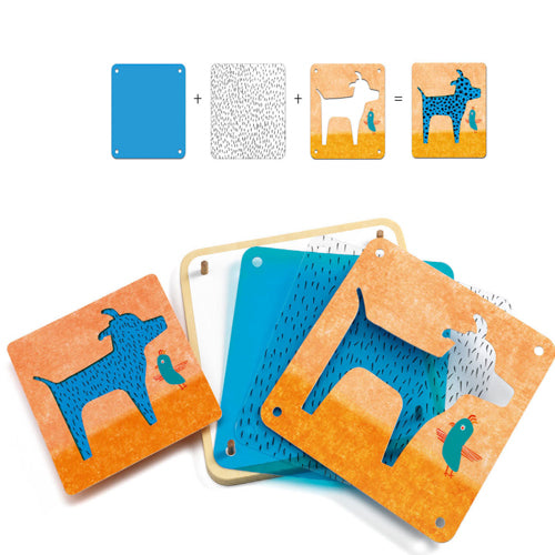 Contetns - Kids Animomix stencil art set - Djeco