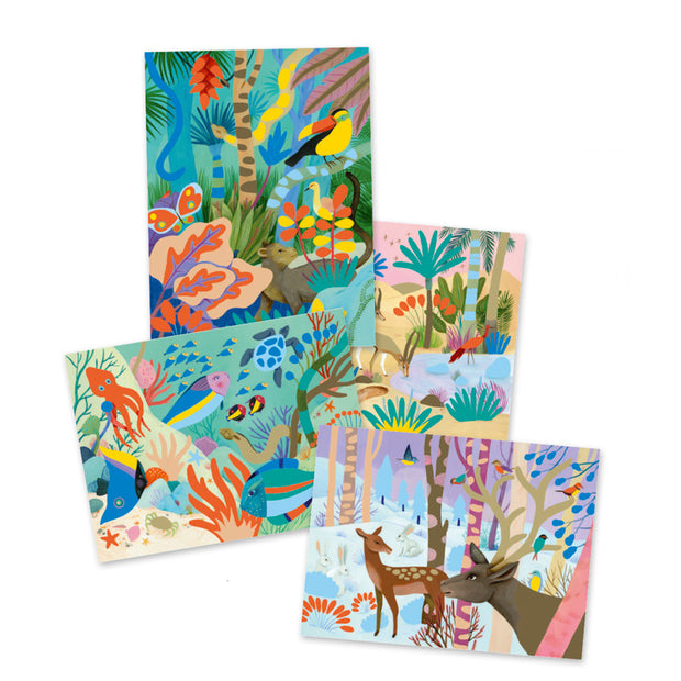 Contents of childs Natural World Gouaches Art Set - Djeco