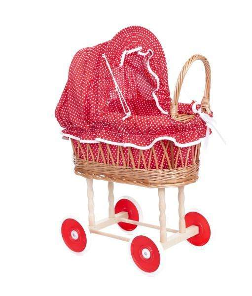 Egmont Wicker Pram Hood - Red & White Spot - Send A Toy