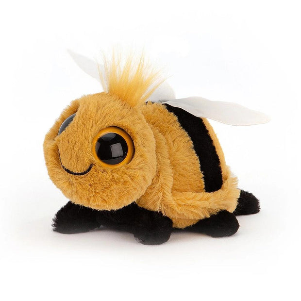 gold and black stripe bee soft toy with big eyes and friendly smile
