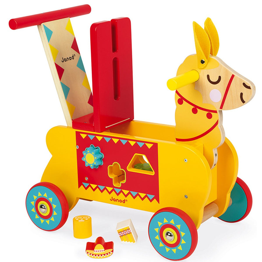 Janod wooden yellow and red Llama ride-on toy