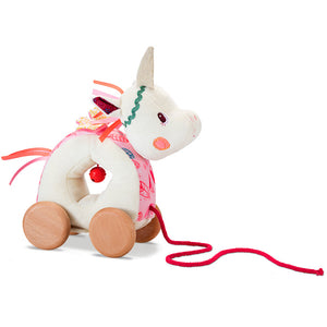 Lilliputiens soft Louise Unicorn pull-along toy with wooden wheels