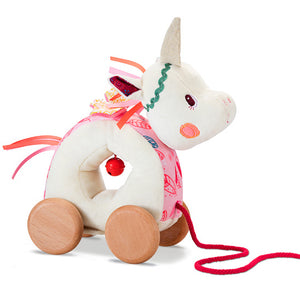 Soft Louise Unicorn pull-along toy with wooden wheels