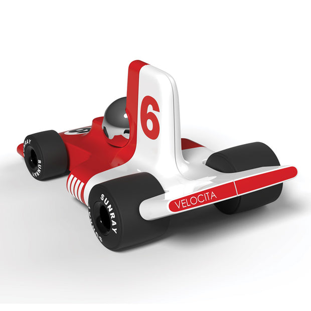 Playforever - Verve Velocita Jean - red and white toy car with number 6 - rear