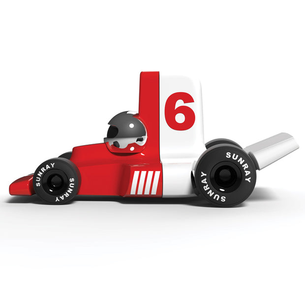 Playforever - Verve Velocita Jean - red and white toy car with number 6 -side