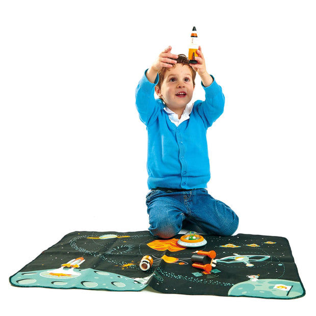 Boy playing with WoodenSpace Adventure Play Set