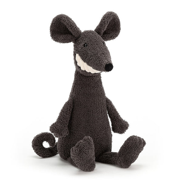 Black rat soft toy with big white toothy grin - Jellycat