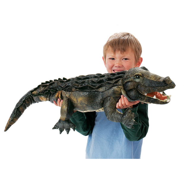 Young boy holding Alligator Hand Puppet -  Folkmanis