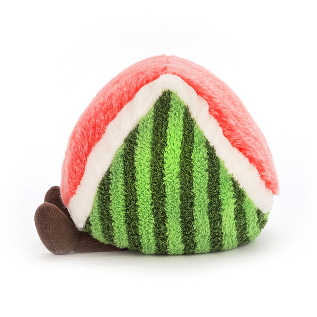 Amuseable watermellon soft toy by Jellycat - side view