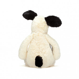 Rear view of Jellycat small black and white puppy soft toy - Send A Toy