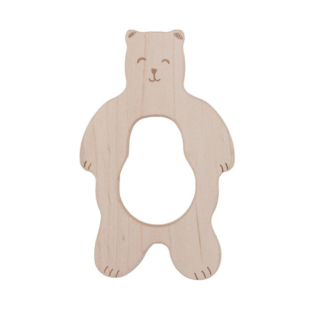 Smiley Bear Wooden Teether