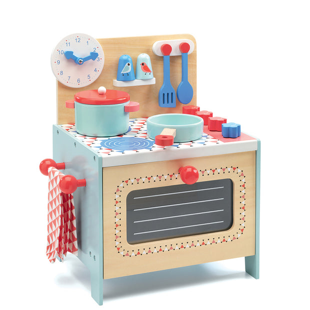 Child's Blue wooden Cooker Kitchen toy