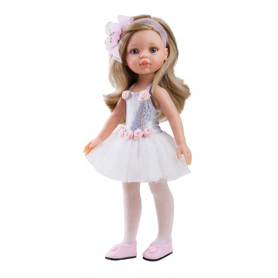 Paola Reina Carla Ballerina Doll wearing white tutu with silver bodice and pink rosettes - PR4447 (PR4447)