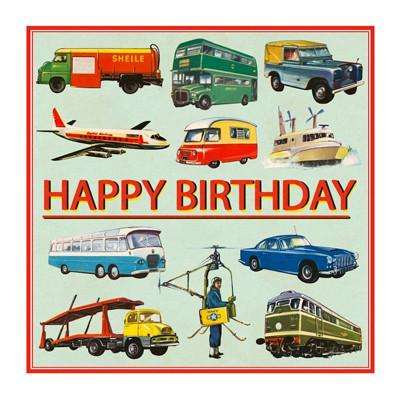 Transport Happy Birthday Gift Card (blank inside) - Send A Toy