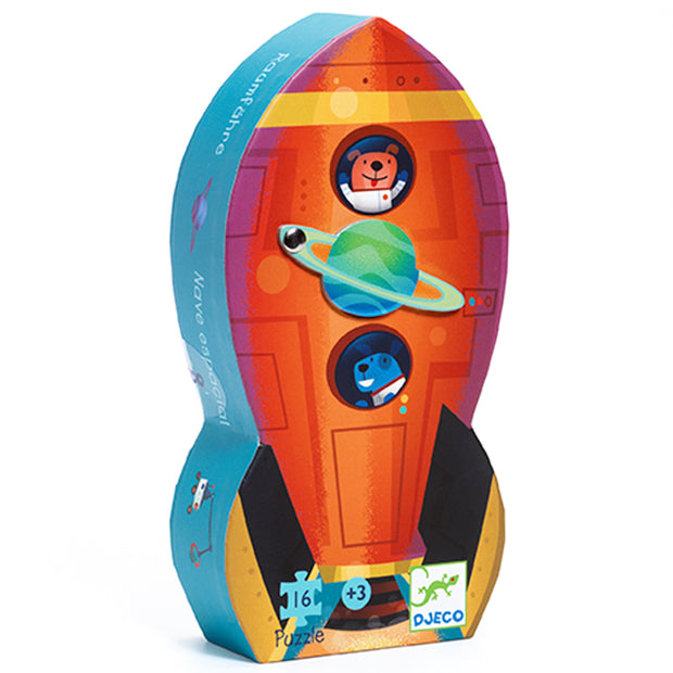 Childs puzzle in spaceship shaped storage box