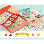 Childs stationery set with colourful tropical illustrations