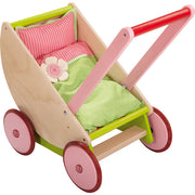 Natural wooden Cherry Blossom Doll Pram with pink wheels - Haba 5889 - Send A Toy