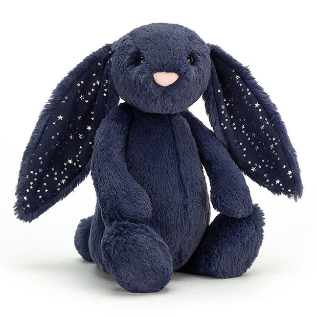 Navy blue bunny with silver stars on the ears