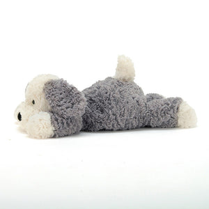 Tumblie Sheep Dog Jellycat laying down side view - Send A Toy