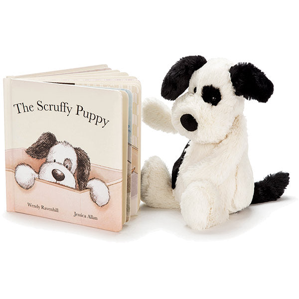 he Scruffy Puppy hardback children's book and pully soft toy