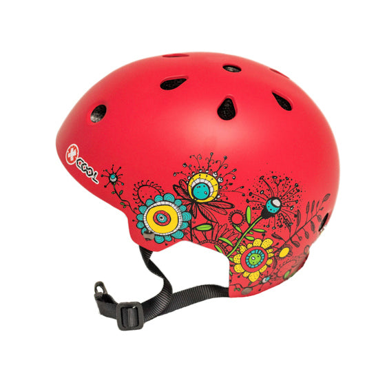 Kids Safety Helmet (Red Flowers) Medium 55 - 58cm