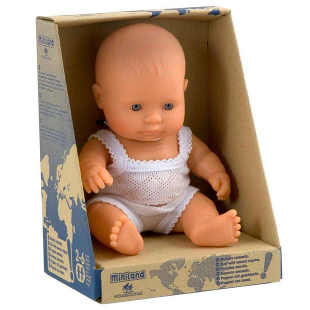 Miniland Baby Boy Caucasian Doll 21cm in retail packaging - Send A Toy