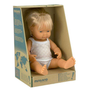 Miniland Baby Doll Boy Caucasian 38cm in retail packaging - Send A Toy