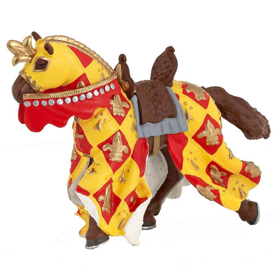 Papo -Knights Horse With Fleur De Lys Red 39754 - Send A Toy