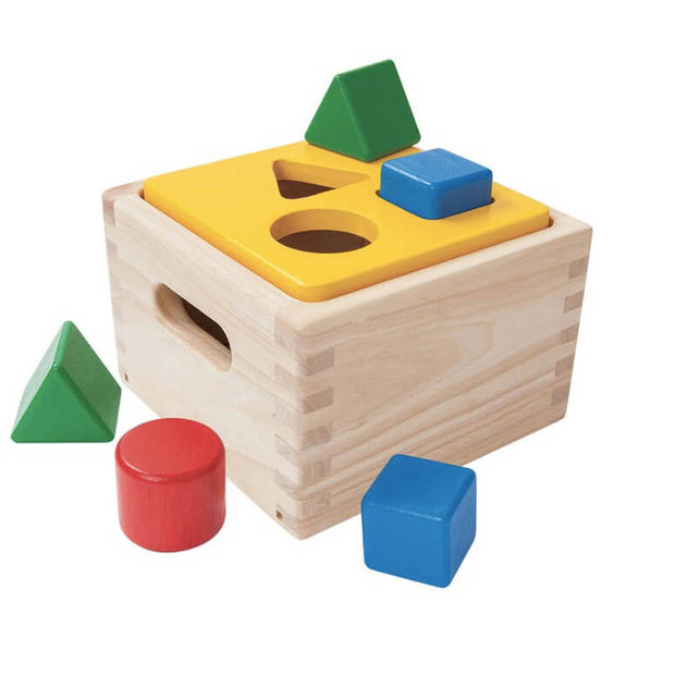 Wooden shape sorter toy by Plan Toys