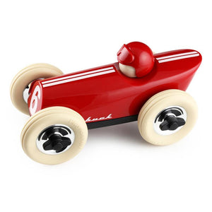 Side view of Playforever mid buck red toy car - Send A Toy