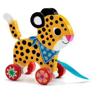 Wooden Leopard Pull Along Toy by Djeco