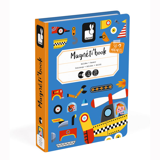 Retail packaging for Racers Magneticbook game by Janod