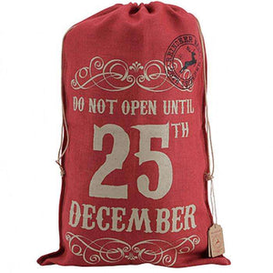 Large Red Hessian Christmas Santa Sack - Send A Toy