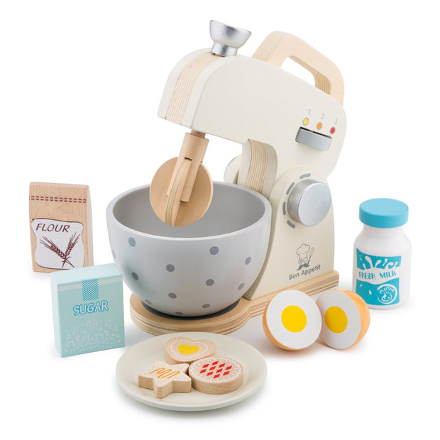 child's retro style wooden mixer toy with baking accessories