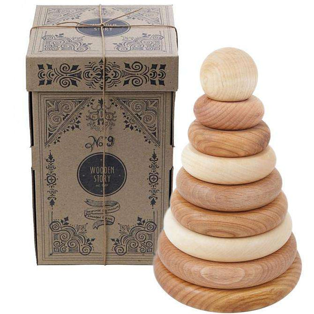 Natural Round Stacker - Wooden Story Poland - Send A Toy