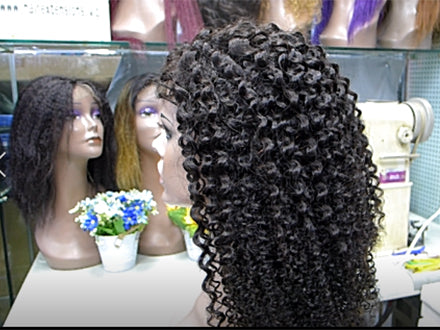"so beautiful kinky curly wig ,high density  we made it in our hair store. wig length 20"" . with 4*4"" closure design,100$  one pcs"
