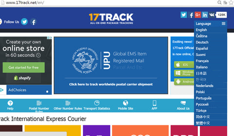 tracking website