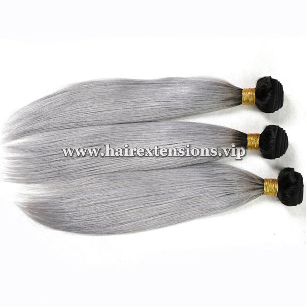 gray straight hair extensions