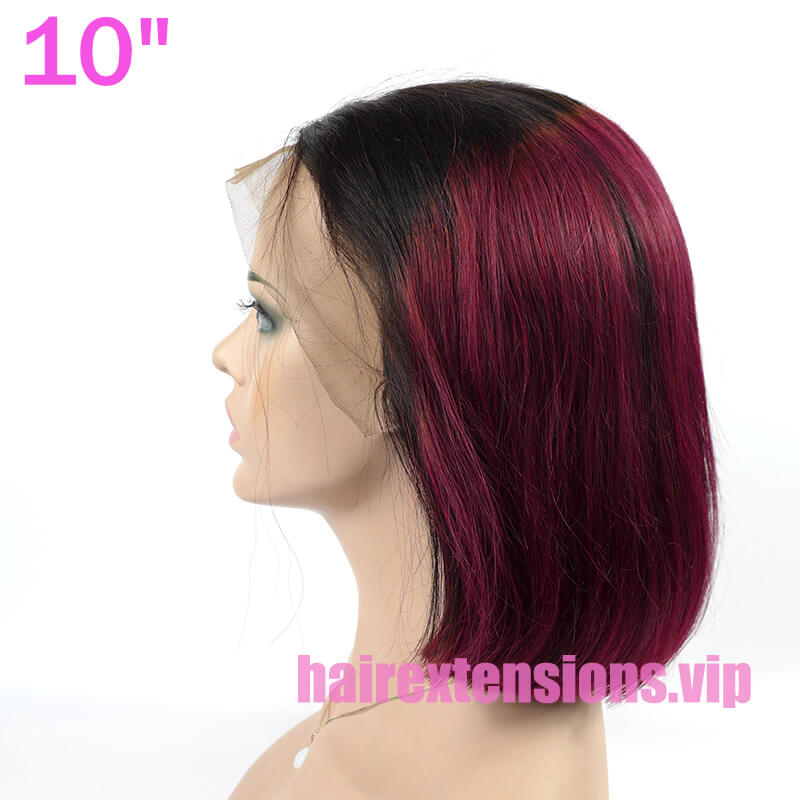 Frontal Wig Bob Cut Style Ombre 1B/99j color
