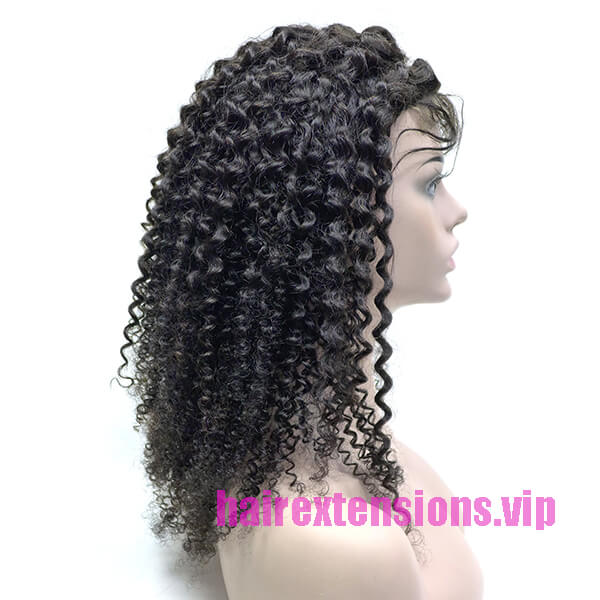 Kinky Curly Closure Wig Black 20 inch