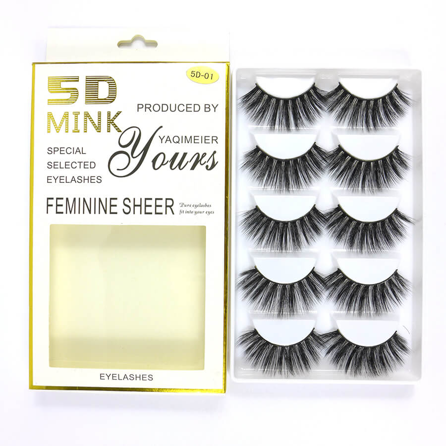 5D Mink Natural Long False Eyelash Feminine Sheer 5D-01