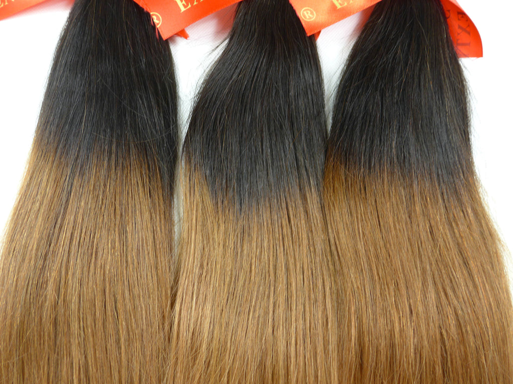 "Color 1B/30 12~26"" Human Hair Extensions Straight  Ombre 100gram per piece"