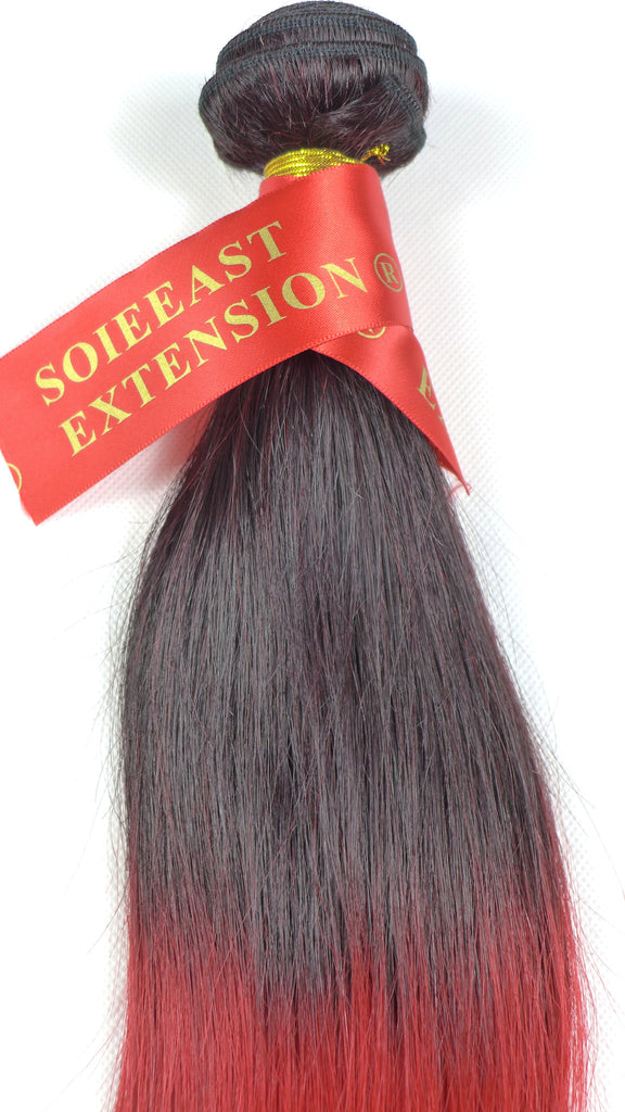"Color 1B/Red   12~26"" Human Hair Extensions Straight  Ombre 100gram per piece"