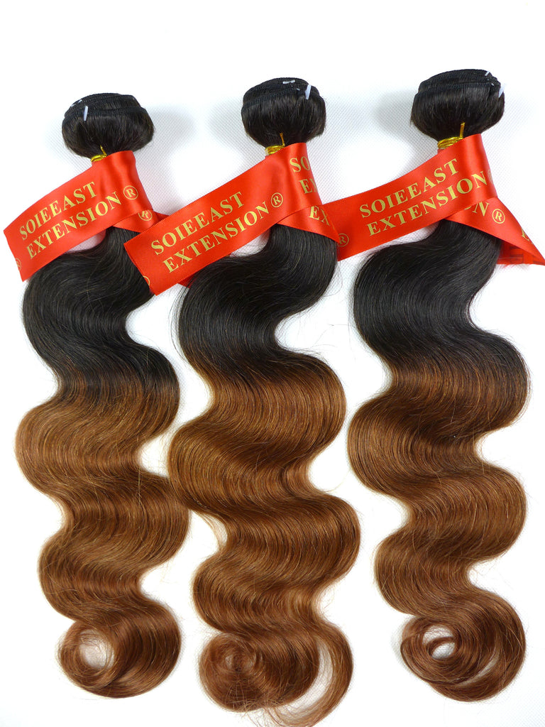 "Color 1B/30 12~26"" Human Hair Extensions Body Wave Ombre 100gram per piece"