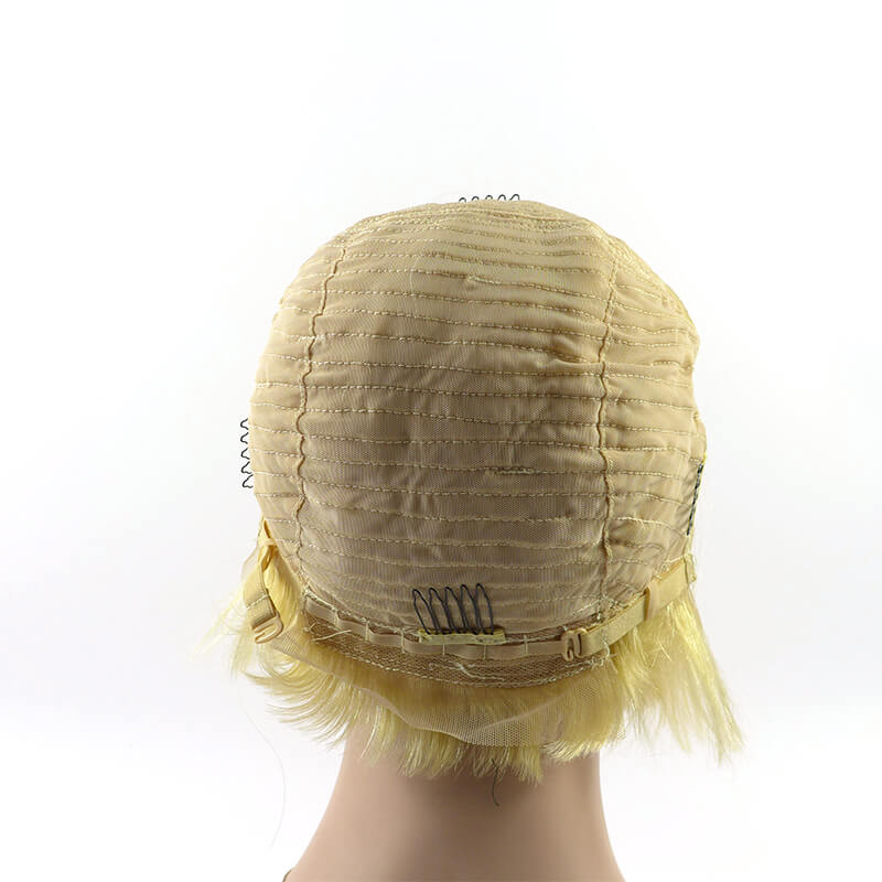 Blonde Lace Front Wig Pixie Cut Style 100% Hair