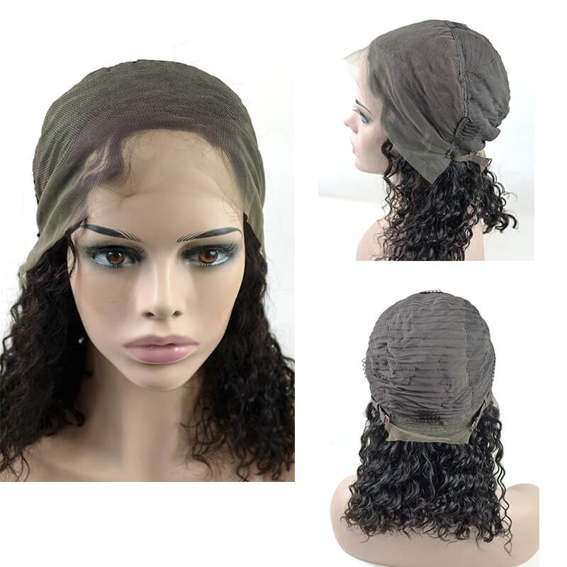 "14"" Curly Bob Cut Lace Front Wig Water /Kinky/Deep Curly one piece"