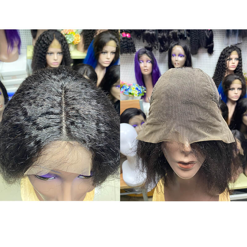 Kinky Straight Lace Front Wig 14 inch Human Hair Material