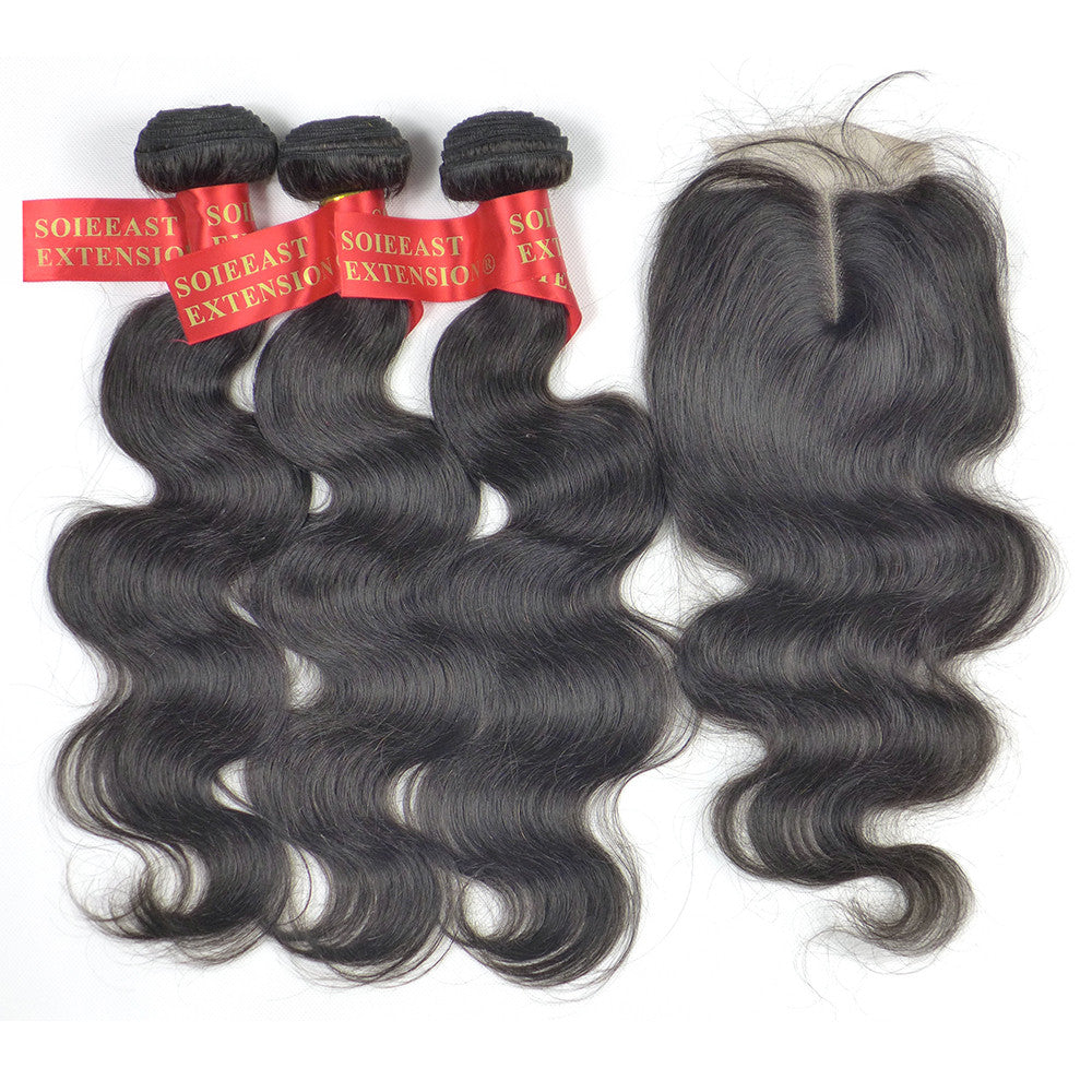 24 Inch Hair Extensions Body Wave 3 Pieces Hair With One Lace