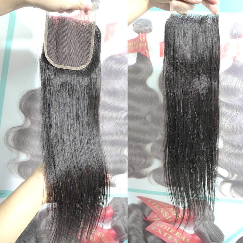 "Straight Lace Closure 4*4"" Black 1B Color 8~20"" One Piece"