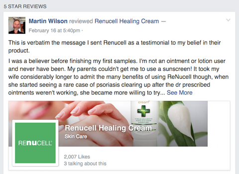 Check out our customer reviews on Facebook: https://www.facebook.com/renucell/reviews/
